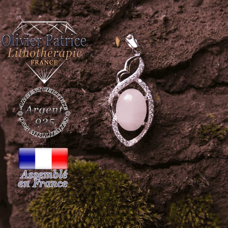 Pendentif quartz rose losange à noeud en argent 925
