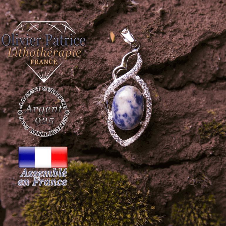 Pendentif sodalite losange à noeud en argent 925