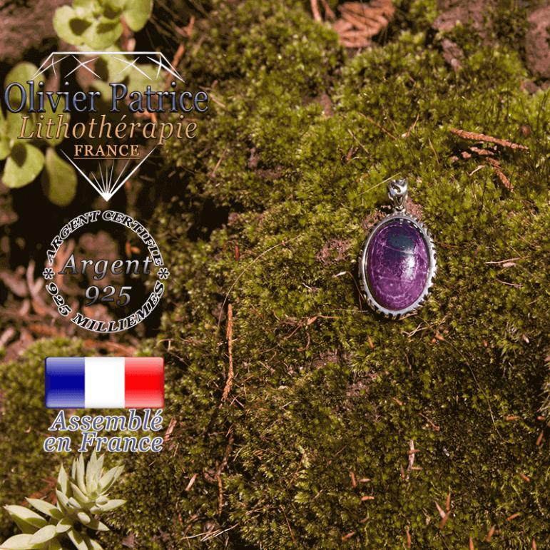 Pendentif agate violette médaille en argent 925