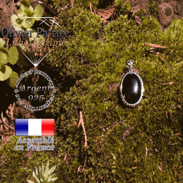 Pendentif obsidienne médaille en argent 925