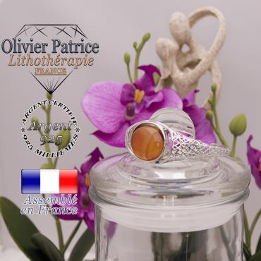 Bracelet agate à bandes oranges toile d'araignée ouvert en argent 925