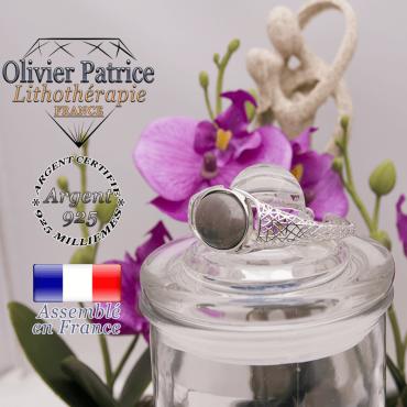 Bracelet agate d'inde toile d'araignée ouvert en argent 925