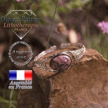 Bracelet rhodonite toile d'araignée ouvert en argent 925