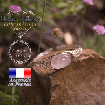 Bracelet quartz rose toile d'araignée ouvert en argent 925