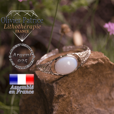 Bracelet opale toile d'araignée ouvert en argent 925