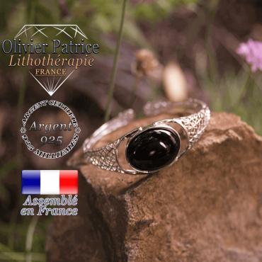 Bracelet onyx toile d'araignée ouvert en argent 925