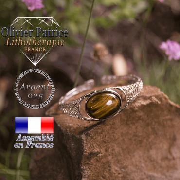 Bracelet oeil de Tigre toile d'araignée ouvert en argent 925