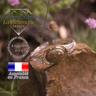Bracelet unakite toile d'araignée ouvert en argent 925