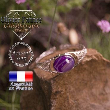 Bracelet agate à bandes violette toile d'araignée ouvert en argent 925