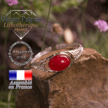 Bracelet agate rouge toile d'araignée ouvert en argent 925