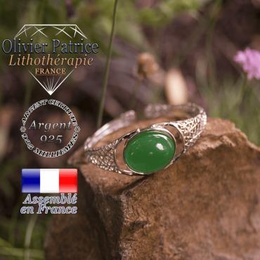 Bracelet agate verte toile d'araignée ouvert en argent 925