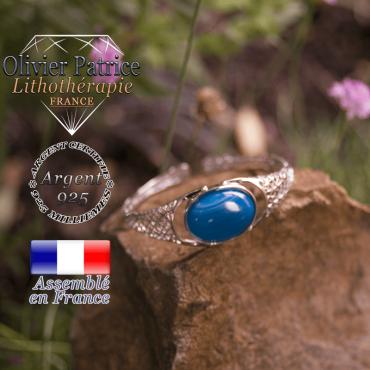 Bracelet agate bande bleue toile d'araignée ouvert en argent 925