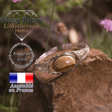 Bracelet jaspe paysage toile d'araignée ouvert en argent 925