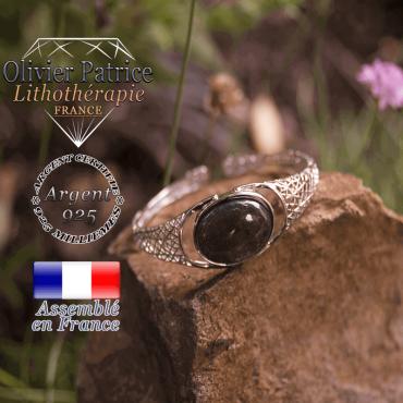 Bracelet larvikite toile d'araignée ouvert en argent 925