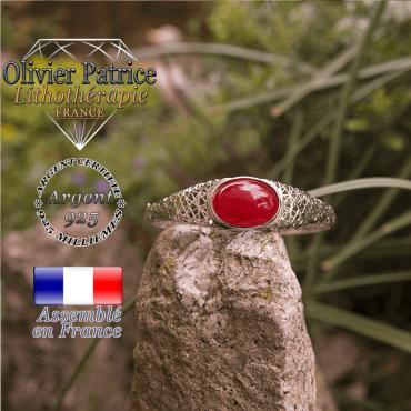 Bracelet agate rouge toile d'araignée fermé en argent 925