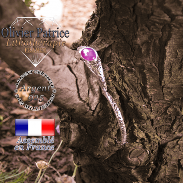 Bracelet agate violette toile d'araignée fermé en argent 925