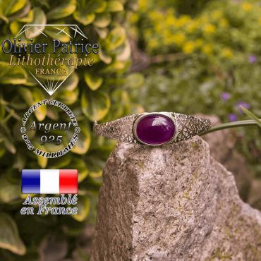 Bracelet agate à bandes violette toile d'araignée fermé en argent 925