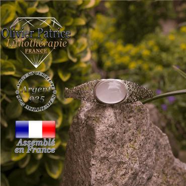 Bracelet cristal de roche toile d'araignée fermé en argent 925