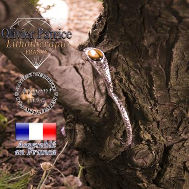 Bracelet oeil de tigre toile d'araignée fermé en argent 925
