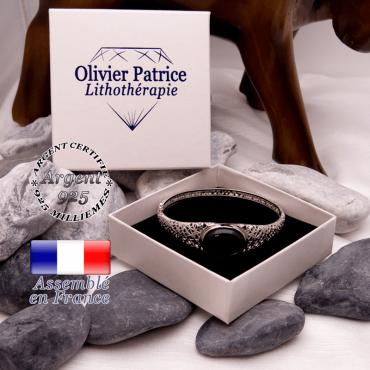 Bracelet obsidienne toile d'araignée fermé en argent 925