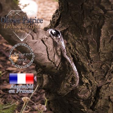 Bracelet onyx toile d'araignée fermé en argent 925