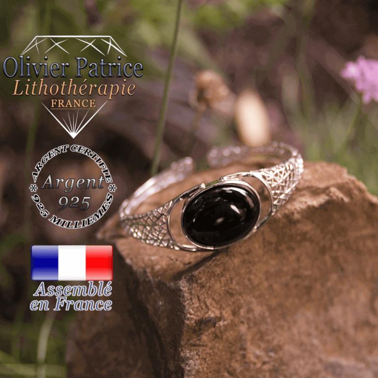 Bracelet obsidienne toile d'araignée ouvert en argent 925