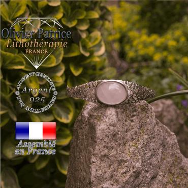Bracelet quartz rose toile d'araignée fermé en argent 925