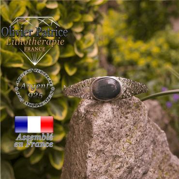 Bracelet agate mousse toile d'araignée fermé argent 925