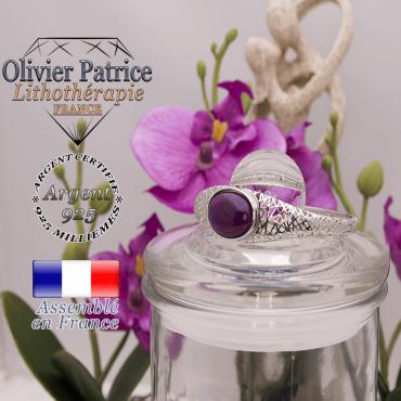 Bracelet agate à bandes violettes toile d'araignée fermé en argent 925