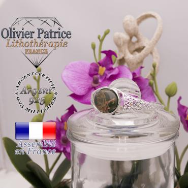 Bracelet jaspe picasso toile d'araignée ouvert en argent 925