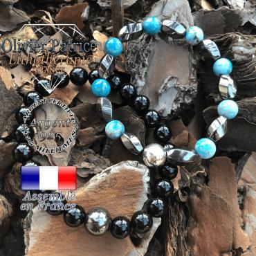 Bracelets pour les couples en hématite, apatite et tourmaline en argent 925