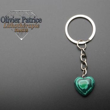 Porte-clés coeur malachite