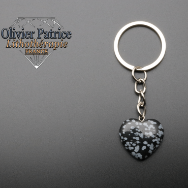 Porte-clés coeur obsidienne neige