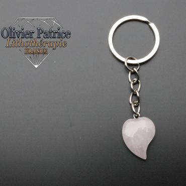 Porte-clés coeur quartz rose