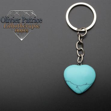 Porte-clés coeur turquoise