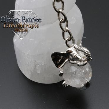 Porte-clés éléphant cristal de roche