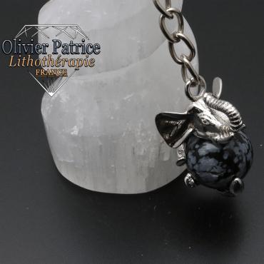 Porte-clés éléphant obsidienne neige