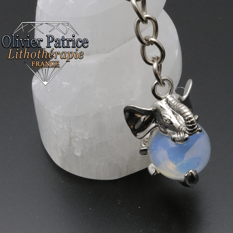 Porte-clés éléphant opale