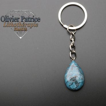 Porte-clés goutte d'eau onyx bleu