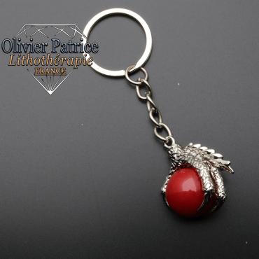 Porte-clés griffe de dragon agate rouge