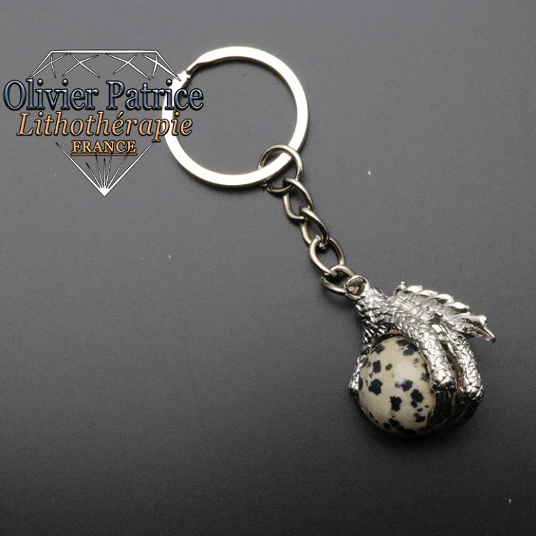 Porte-clés griffe de dragon jaspe dalmatien