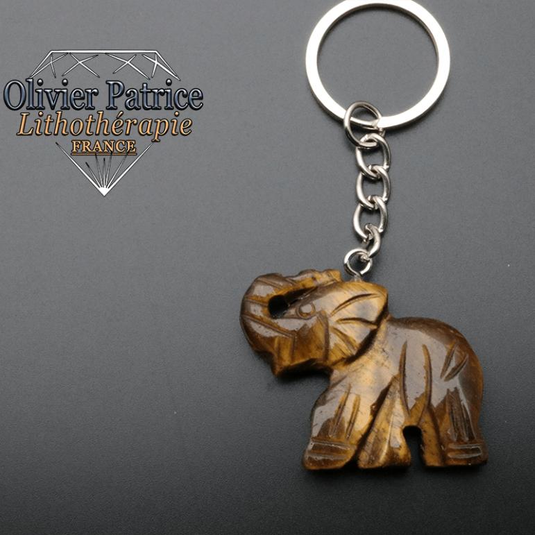 Porte-clés éléphant en pierre d'oeil de tigre