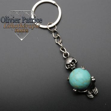 Porte-clés squelette turquoise