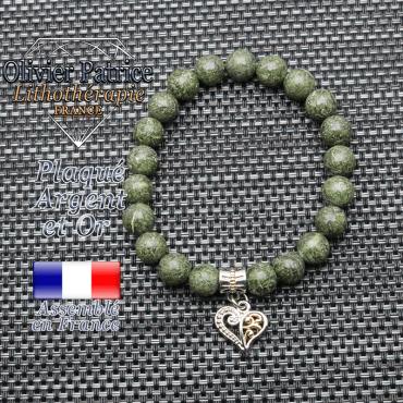 Bracelet serpentine et son charms coeur plaqué or-argent