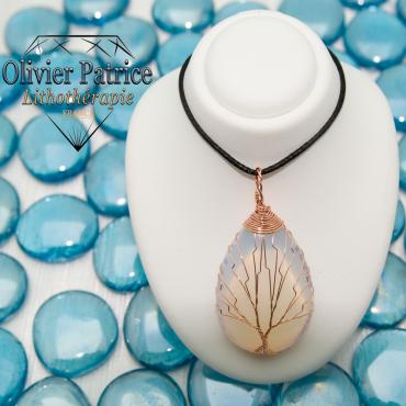 Pendentif arbre de vie goutte d'eau en opaline pierre naturelle