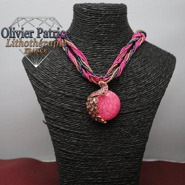 Pendentif paon opale rose en alliage