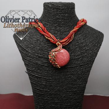 Pendentif paon opale de feu rouge en alliage