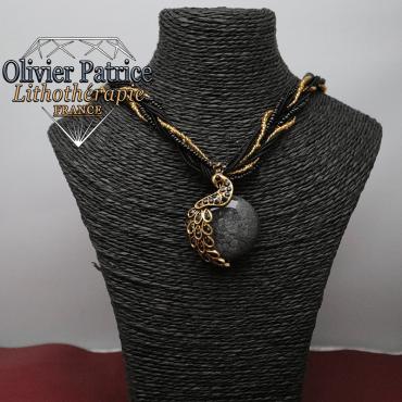 Pendentif paon opale noire en alliage
