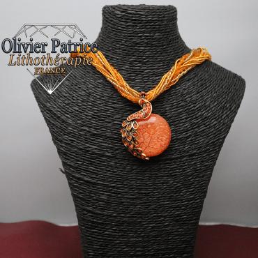 Pendentif paon opale de feu orange en alliage