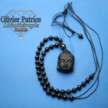 Pendentif Bouddha en obsidienne
